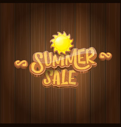 Summer sale label or tag on wooden board vector
