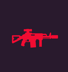 tactical assault rifle silencer optical sight vector image