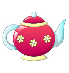 Tea pot retro icon cartoon style vector