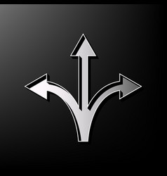 Three-way direction arrow sign gray 3d vector
