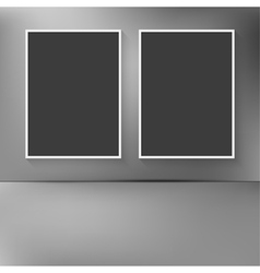 Two blank frames hanging on the wal vector image