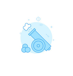 Vintage gun with cores flat icon filled line vector