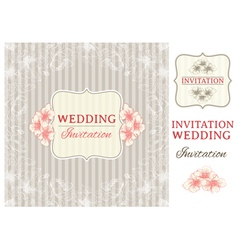 Vintage invitation card and design elements vector