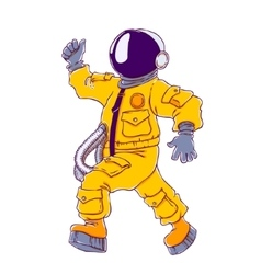 walking and cheering astronaut vector image