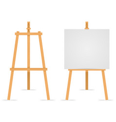 Wooden easel empty blank paper mock up isolated on vector