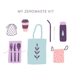 zero waste everyday kit vector image