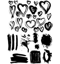 Blots Splash banners and heart set Grunge texture vector image vector image