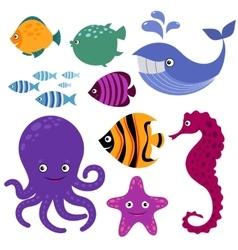 Cute sea creatures Cartoon smiling animals vector image vector image