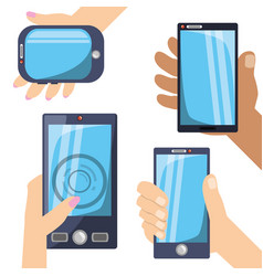 Differents smartphones technology in the hands vector