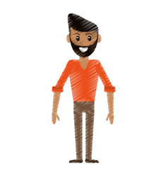 drawing man avatar standing smile vector image