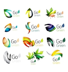 Green nature leaf concept icon set vector image vector image