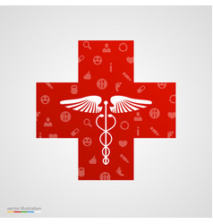 medical cross with medical icons vector image vector image