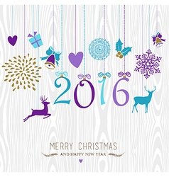 Merry Christmas and Happy new year hang retro 2016 vector image vector image