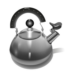 metal teapot realistic style vector image vector image