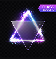 neon sign triangle with transparent glass plate vector image vector image