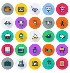 traveling and transport icon set vector image vector image
