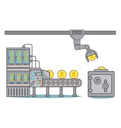 bitcoin factory concept in vector image vector image
