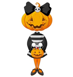Halloween trick or treating girl vector image vector image