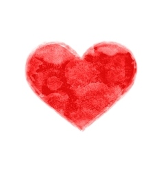 Hand-drawn watercolor painted red heart shape vector image
