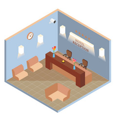 hotel reception interior in isometric style vector image