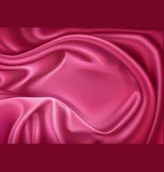luxury realistic pink silk satin textile vector image