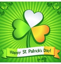 Saint Patricks Day clover greeting card vector image vector image