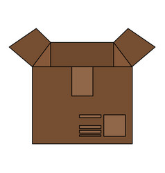 color image cartoon box of cardboard opened vector image