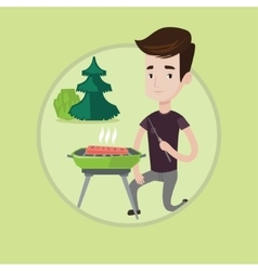 Man cooking steak on barbecue vector image vector image