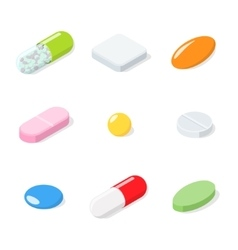 Set of different medical pills tablets capsules vector image