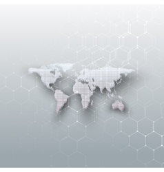 White dotted world map connecting lines and dots vector image vector image