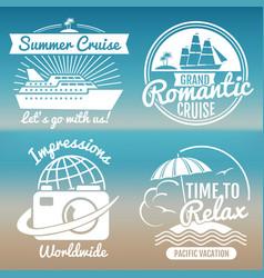 white vintage vacation logo set - summer travel vector image vector image