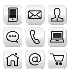 Contact web stroke buttons set vector image vector image