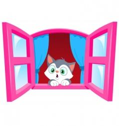 curious kitten vector image