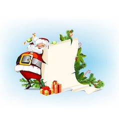 Santa Claus holding candy and standing beside the vector image vector image