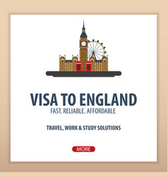 visa to england travel to england document for vector image