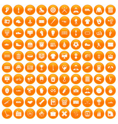 100 mens team icons set orange vector