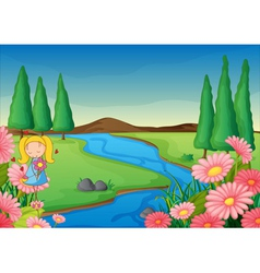 a river and a girl vector image