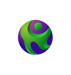 abstract circle people icon logo vector image