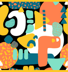 abstract shapes collage seamless pattern vector image