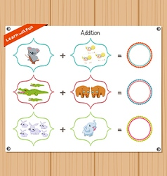 Addition number - Worksheet for education vector