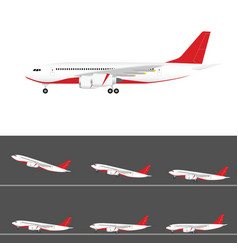 Airplane in colored tail set flight with two vector