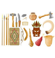 Ancient tools set isolated on white background vector