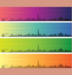 Antwerp multiple color gradient skyline banner vector