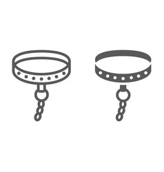 Bdsm collar line and glyph icon sex toy and adult vector