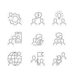 Business cooperation line icons on white vector