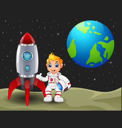 Cartoon astronaut boy holding a helmet and rocket vector