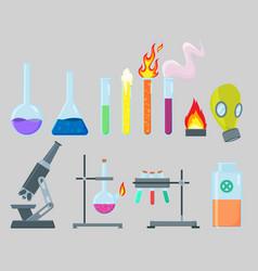 Chemical experiment laboratory equipment set vector