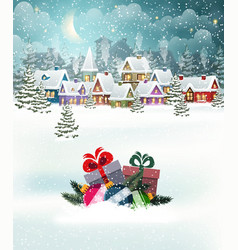 christmas village landscape vector image
