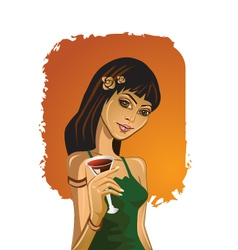 Cocktail party girl vector