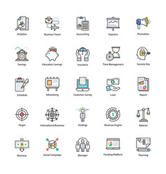 Colored line icons of business and finance vector